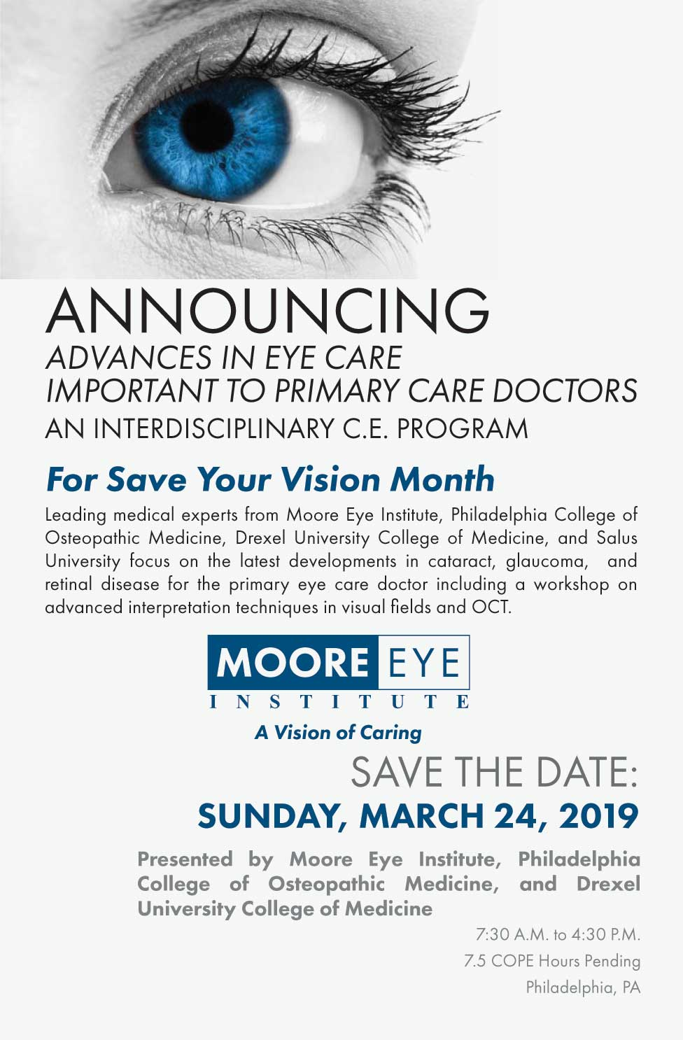 Save the Date for Advances in Eye Care Important to Primary Care Doctors